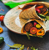 Seaweed wraps with falafel